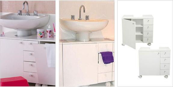 Reformeiras Solução decorativa pia de banheiro com coluna + gabinete -> Armario De Banheiro Tok Stok