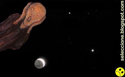 A la izquierda, Júpiter. A la derecha (más grande) Venus, el lucero. Debajo, la Luna, de la que a simple vista sólo se observaba en el cielo la uña, sin el resto.