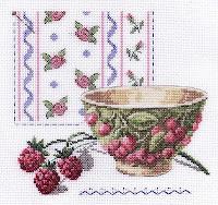Чашка с малиной, 20х20, аида, счетный крест. арт.