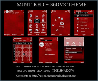 Mint Red Nokia S60v3 Premium Theme