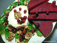 goats-cheese-and-beetroot-salad with walnut and cranberry and balsamic vinegar