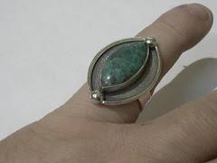 anillo malaquita plata
