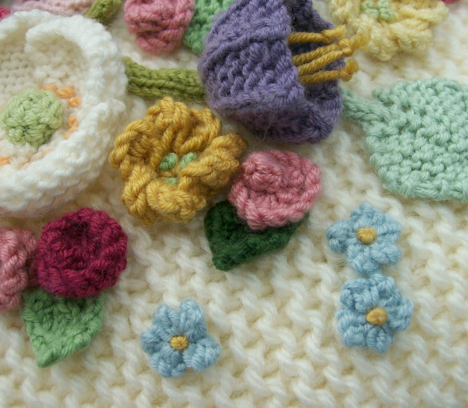 Asombroso Small Flower Knitting Pattern Composición - Manta de Tejer ...
