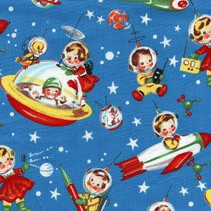 Vintage u f o vintage space babies in space for Kids space fabric
