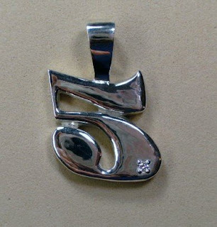 Sterling Silver Number 5 handmade pendant with small round diamond by Payne's Custom Jewelry