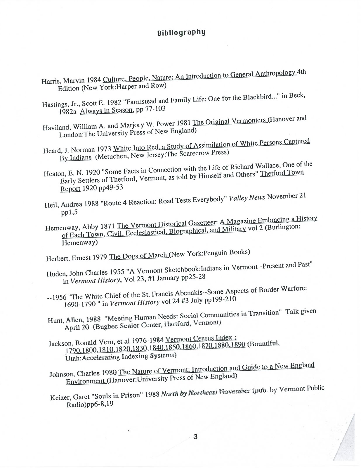 Sample of a bibliography page
