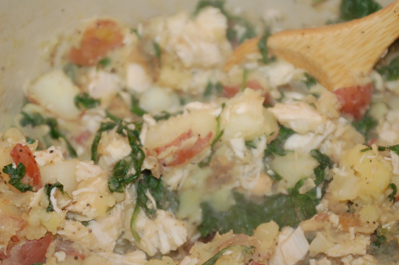 Let's Eat: Chicken, Spinach, and Potato Hash