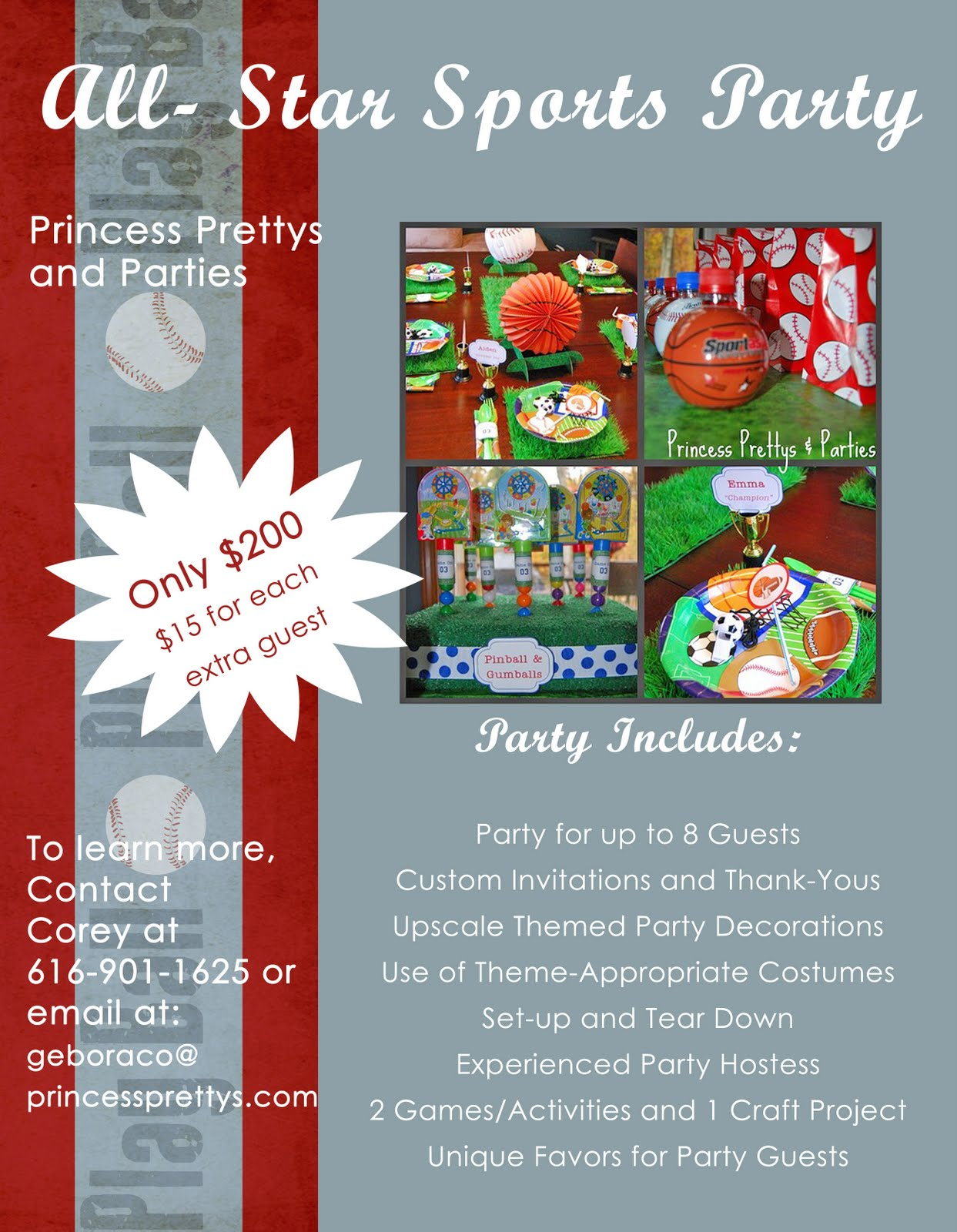 princess prettys blog promo flyer for sports theme parties