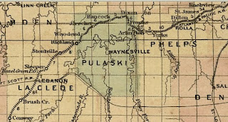 1872 Asher & Adams Railroad Map of Pulaski County, Missouri, showing the settlement of Woodend between Crocker and Richland.
