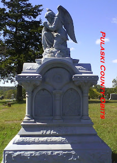 The elaborate headstone of Lib M. (Zeigler) Wilson 1853-1900  Photo by Pulaski County Obits, October 2009