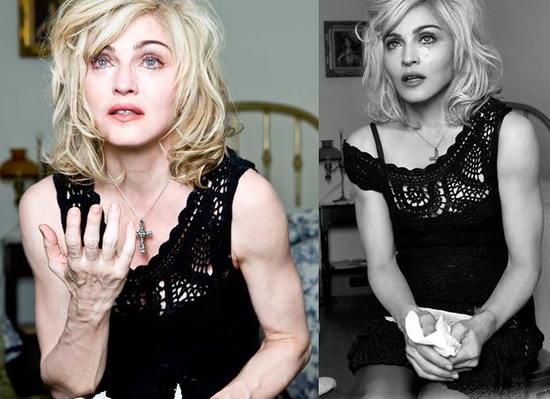 Madonna avec et sans Photoshop