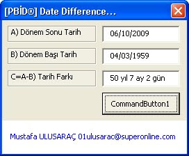 Date difference in excel