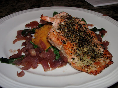 herb crusted salmon with sweet potatoes