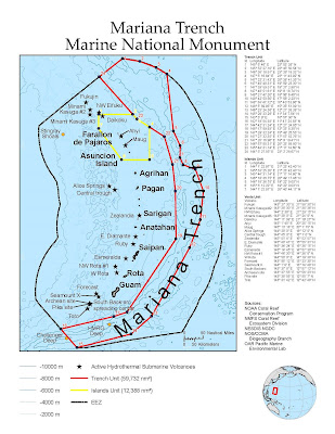 marianas trench marine national monument map