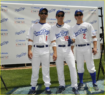 Joe Kevin Nick Jonas in baseball uniforms