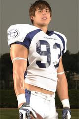 studly Joel Bonomolo in his football uniform