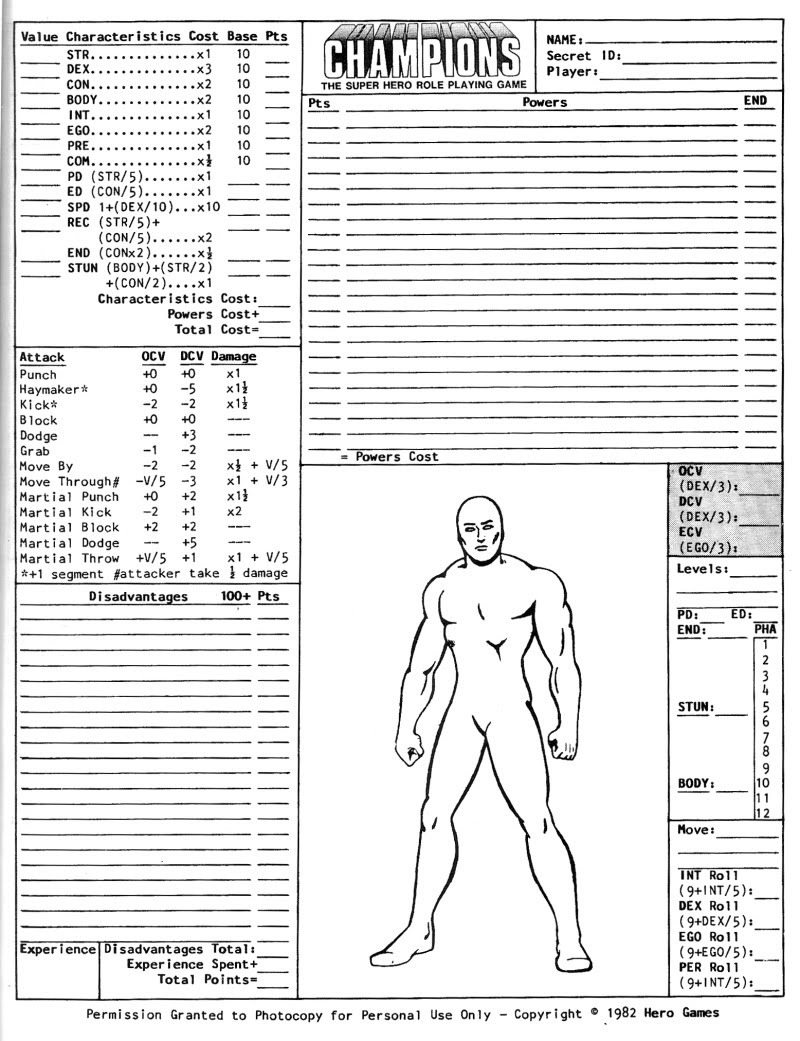 Character information sheet - Re Champions Character Sheets 1st 2nd Edition