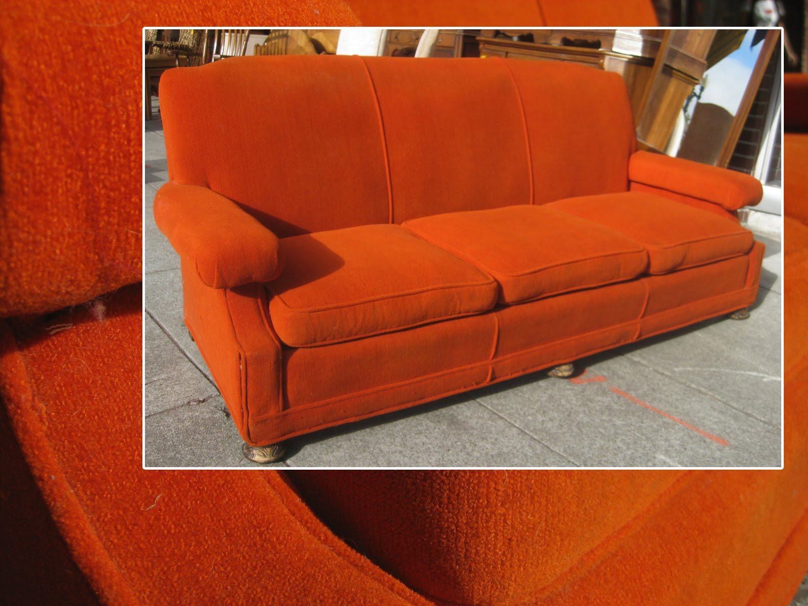 Uhuru Furniture Collectibles Sold Orange 1930s Sofa
