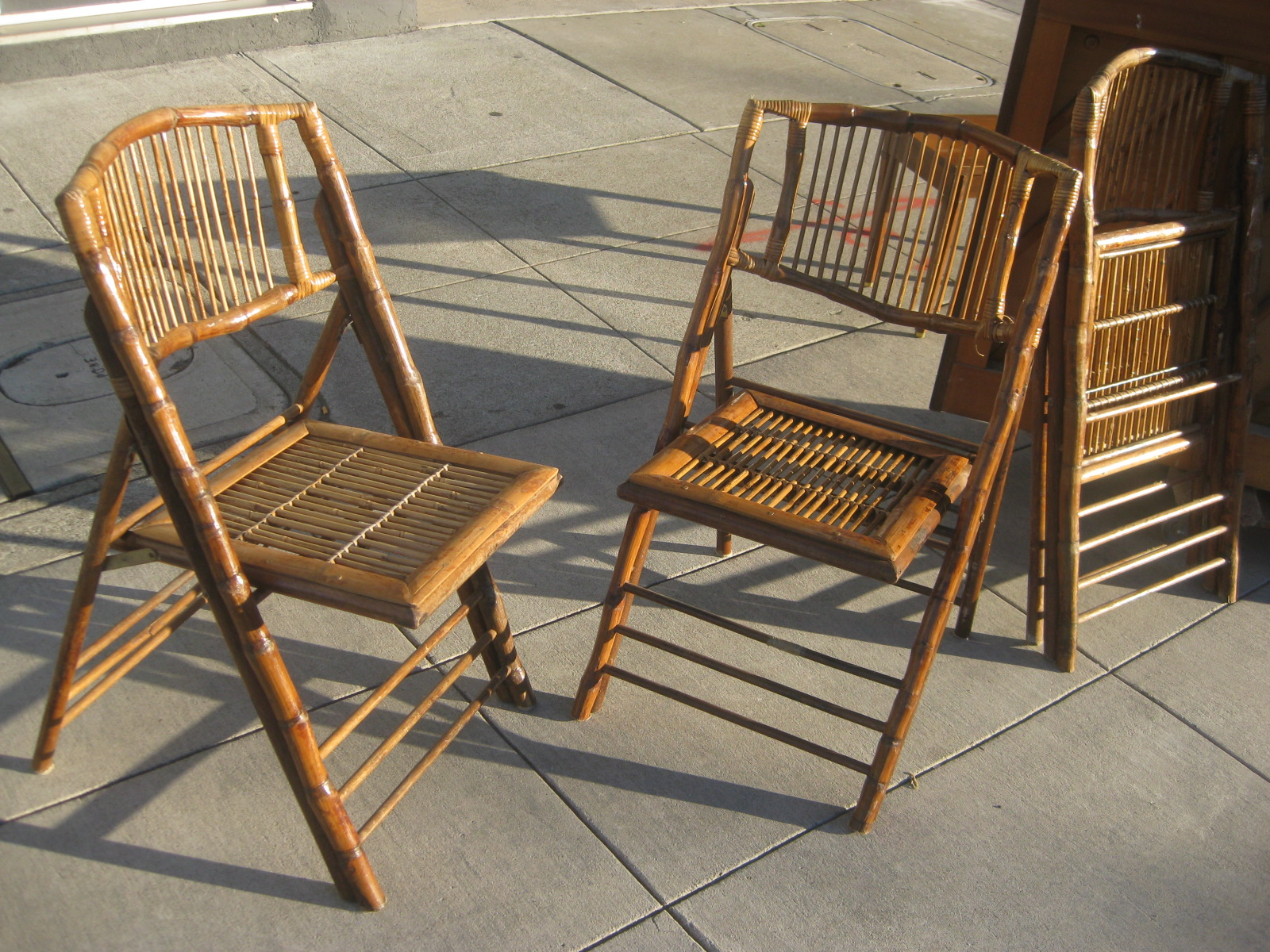 UHURU FURNITURE & COLLECTIBLES SOLD 3 Folding Wicker Chairs $60