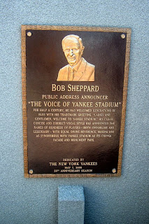 The Bob Sheppard plaque at the Yankee Stadium Monument Park.