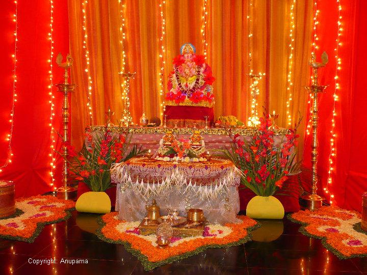 ganpati decoration ideas for home on Of Mine Sent In This Lovely Pic Of The Ganesha Decoration At Her Home