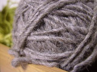 Hand spun grey Shetland wool