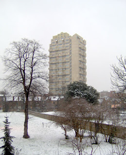 The Stockwell Flats in snow