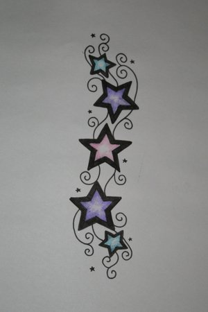 small and cute star tattoo designs combined with moon tattoo designs 5