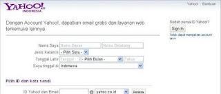 cara bikin email mendaftar email yahoo