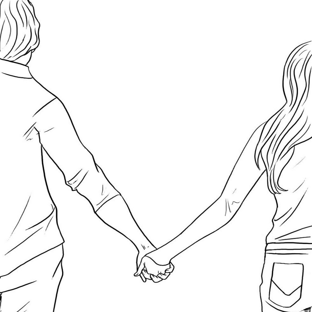 Anime Couples Holding Hands And Walking Sketch