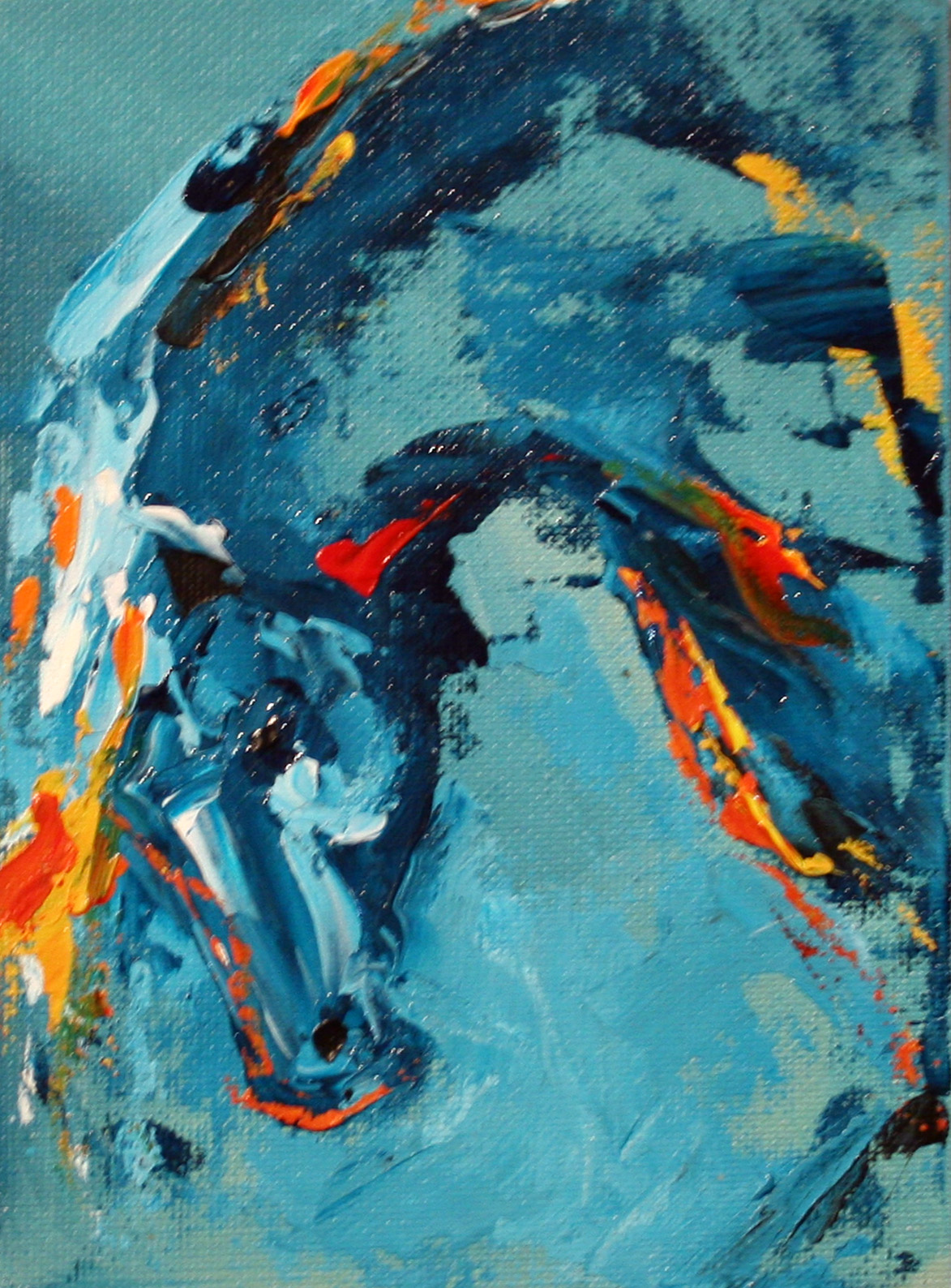 Colorful abstract horse paintings by texas artist laurie for Acrylic mural paint