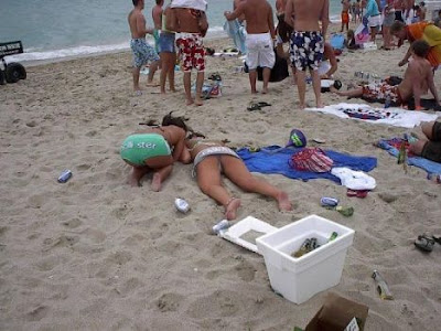 drunk womens sleep in beach