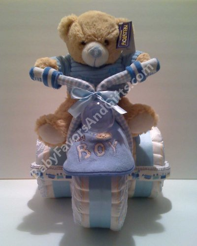 Unusual Baby Gifts  Boys on Gift Ideas  Tricycle Diaper Cake  Centerpiece  Unique Baby Shower Gift