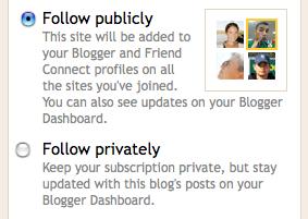 Follow a blog public or private