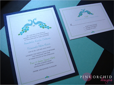 HandGlittered Peacock Wedding Invitations