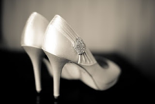 Contemporary photography of the brides shoes