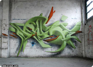 3D Graffiti Alphabet Sketch Green Color Style