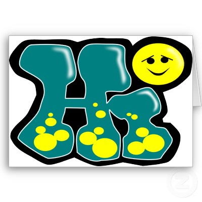 Hi Graffiti Alphabet Bubble Style with Green Color