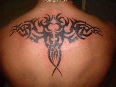 Upper Back Tribal Tattoo Design