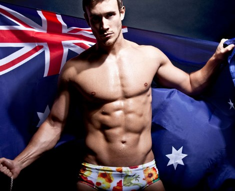 Male model Luke Boyden australia flag