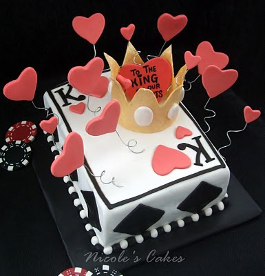 On Birthday Cakes King of Hearts Cake