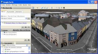 la ville de Wesport dans Google Earth