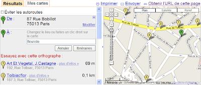 choix d'une destination dans google maps