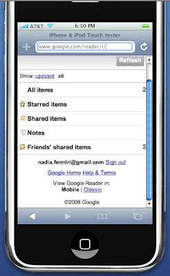 version de google reader pour l'iphone