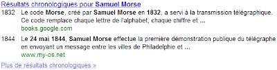 Résultats chronologiques dans Google