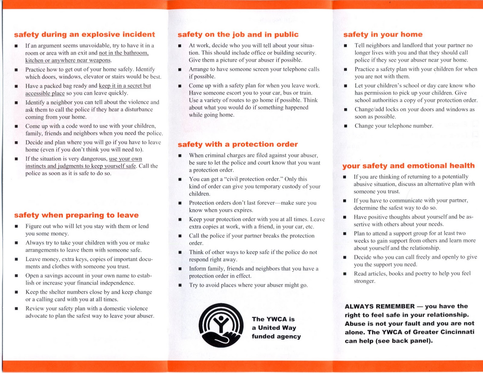 Reclaim at the University of Cincinnati Domestic Violence Safety – Safety Plan Worksheet