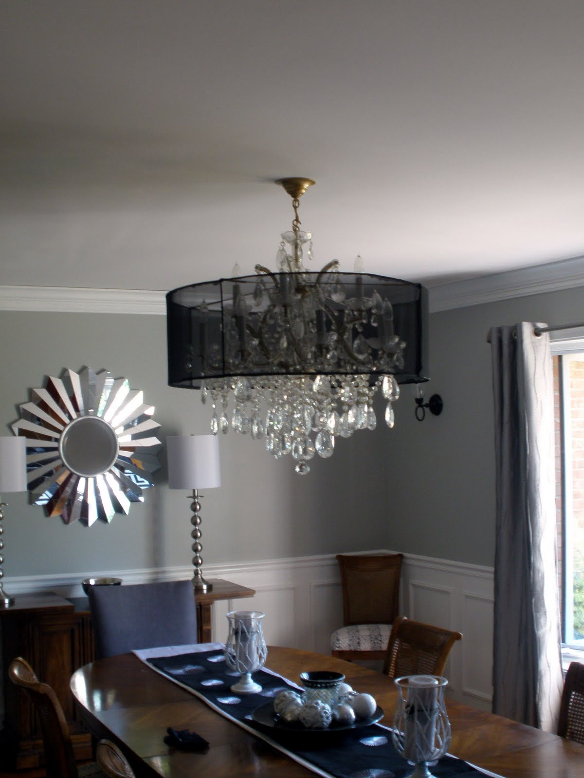 Livinginthe513 chandelier revamp part 2 since we were having a party this past weekend i wanted to get it up in the dining room i used a hot glue gun to attach the fabric mozeypictures Images