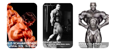 mister olympia bodybuilders winners arnold scharzenegger, dorian yates, ronnie coleman, jay cutler