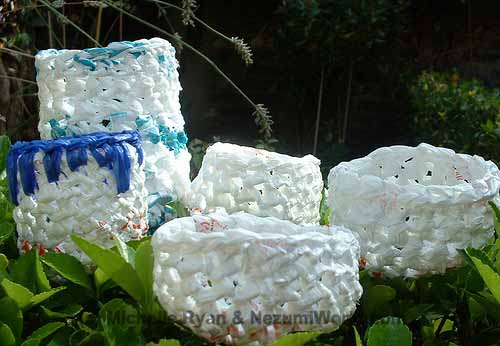Instructions for cutting plastic bags & creating recycled plastic