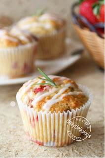 Strawberry Muffins with Fresh Lemon and Rosemary